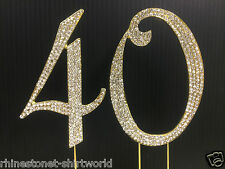 Gold  Rhinestone  NUMBER (40) Cake Topper 40th Birthday Party Anniversary