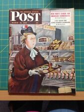 MARCH 12 1949 SATURDAY EVENING POST magazine cover print - CAFETERIA!