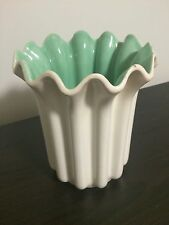 Vintage Retro Red Wing Pottery Matte White Mint Green Ribbed Ruffled Vase 1171
