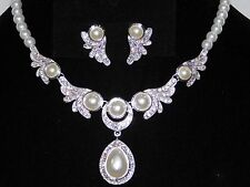 Wedding Bridal Silver W.White Pearl & Rhinestone Necklace, Earrings Set