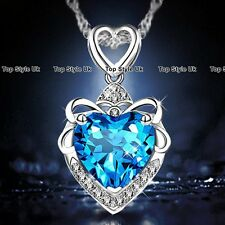 Heart Necklace Silver Pendant Chain Blue Topaz Gemstone Fashion Jewellery 925 B2