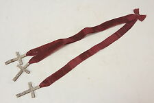 Triple Ribbon Antique Bookmark W/ Tiny White Bead Beaded 3 Crosses