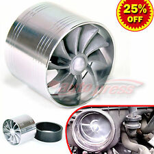 """For BENZ 2.5""""-3.0"""" TURBO CHARGER AIR INTAKE TURBINE Gas Fuel Saver Fan SILVER"""