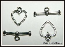 2 Sets Heart 12mm Tibetan Silver Toggle Clasps Jewellery Findings Free P&P Offer