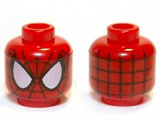 LEGO - Minifig, Head Alien with Spider-Man Black Web Pattern - Red