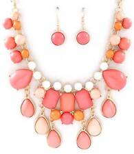DESIGNER INSPIRED MULTI PEACH LUCITE STUD GOLD TONE BASE DROPS NECKLACE EARRING