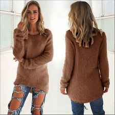 Womens Warm Fuzzy Sweater Casual Long Sleeve Ladies Coat Jumper Pullover Tops