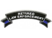 "(D22) RETIRED LAW ENFORCEMENT 4"" x 1.5"" iron on Rocker patch (5489) Blue Line"
