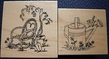 Great impressions rubber stamps, willow chaise & spring arrosoir, F443, E670