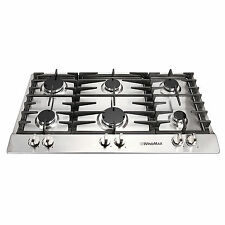 "34"" Silver Stainless Steel 6 Burners Built-In Stove LPG/NG Fixed Cooktop Cooker"