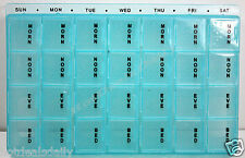 BLUE 28 COMPARTMENT 7 DAY PILL BOX ORGANIZER FULL WEEK SCRIPTS EA DAY REMOVABLE