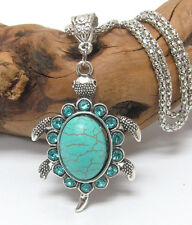 VINTAGE Tibetan Style Silver Filigree Turquoise Color Turtle  Necklace