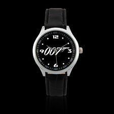 (L170) James Bond 007 Logo Black Leather Strap Wrist Watch