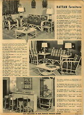 1955 PAPER AD Phillippine Rattan Patio Furniture Settee Table Nest Sofa Chair