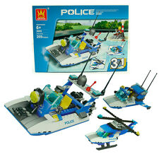 3 in 1 Police Station Speed Boat Building Block Bricks Game Educational Kids Toy