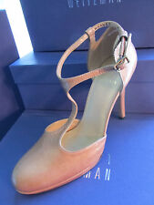 NEW STUART WEITZMAN SHOES SIZE 7 PATENT LEATHER OVALTEE STRAP BEIGE PASTRY NAPLA