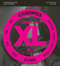 D'Addario ECB81 CHROMES FLATWOUND BASS STRINGS, REGULAR LIGHT GAUGE 4's - 45-100