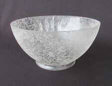 "Gas Or Oil Glass Lamp Shade w/ Etched Flower Pattern - 4"" Fitter           SH237"