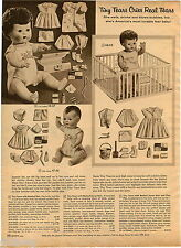 1957 ADVERT Baby Tiny Tears Doll Dolls Saran Hair Christening Snoozie Huggable