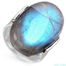 Sterling Silver Ring 925 Solid Labradorite Gemstone Genuine Long Adjustable Size