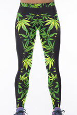 Green weed leaf print sport yoga pants leggings  size UK 10-12