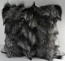 Real Genuine Silver Fox Sections Fur Pillow 16 x 16 New made in usa  fur cushion