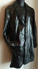 Versace Men's Black Leather Trench Coat - Size 54 (Italian), 40 (US)