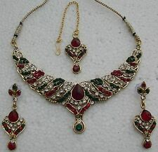 Indian Fashion Costume Jewelry Bridal Party bellydance kundan NECKLACE set y7094