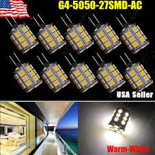 10X Warm White 3500K G4 12V AC/DC 5050 27SMD Car Cabinet RV Boat Home Light Bulb