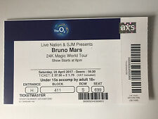 USED BRUNO MARS TICKET STUB @ O2 ARENA, LONDON 22nd APRIL 2017 MINT CONDITION