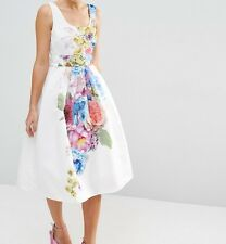 SALON Beautiful Floral Placed Midi Prom Dress Sz 16 RRP-£95.00 (A2)