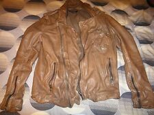 Muubaa Men's Brown Leather Biker Jacket Size M