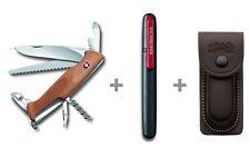 Victorinox Schweizer Taschenmesser RangerWood 55 + Messerschärfer + Leder-Etui