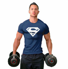 Supreman Athletic Men's Muscle Fit Cotton T-Shirt Tee  Bodybuilding NV Blue XL