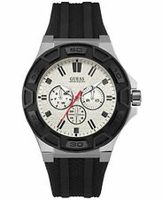 NEW w BOX GUESS Men's Black Chronograph Silicone Strap Watch 45mm U0674G3