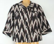 Chico's Women's Shirt Size 1 Small 100% Linen Brown White Western 3/4 Sleeve