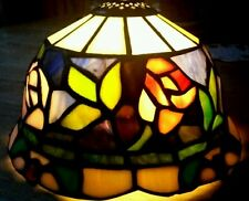 Vintage Tiffany Style Rose & Floral Stained Glass Lamp Shade - 8 Inches