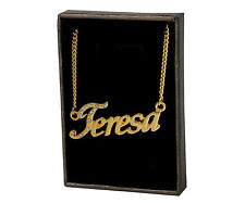 "18K Yellow Gold Plated Name Necklace ""Teresa"" Birthday Valentines Jewelry Gift"