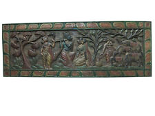 ANTIQUE HEADBOARD INDIAN RADHA KRISHNA GOPIS HAND CARVED WALL PANEL FURNITURE