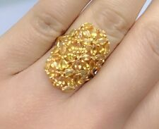 14k Solid Yellow Gold Cluster Rectangle Ring Natural Yellow Sapphire 4TCW, Sz8