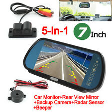 "5-In-1 7"" Car Monitor Rear View Mirror+Backup Camera+Radar Sensor+Alarm Beeper"