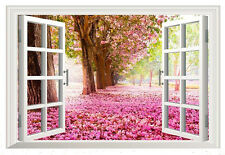 Pink Cherry Blossom Scenery Window View Wall Art Sticker for Living Room Bedroom