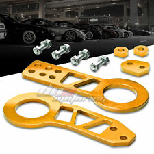 "FRONT+REAR CNC ANODIZED ALUMINUM GOLD JDM/USDM TOWING HITCH 2.25"" TOW HOOK KIT"
