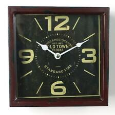 Vintage large cube old town clock square brown shabby chic retro hall french