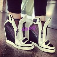 fashion womens high top ankle boot wedge side zip high heel sneaker shoes size