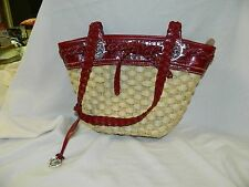 BRIGHTON Straw Woven Red Croc Trim &  Braid Strap Shoulder Bag