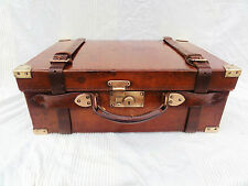 A Fine Quality Antique Leather & Oak Cartridge Case