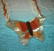 VINTAGE BUTTERFLY AMBER CORAL PEARL NECKLACE INLAY NECKLACE =LEE SANDS HOBE?