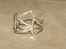Vintage 70s Artisan Made Modernist Openwork Sterling Silver Triangle Ring sz 6.5