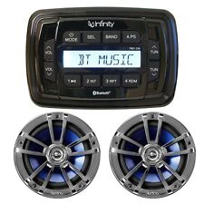 "New Infinity PRV250 Bluetooth Marine AM/FM Stereo 2 x 612M 6.5"" Silver Speakers"